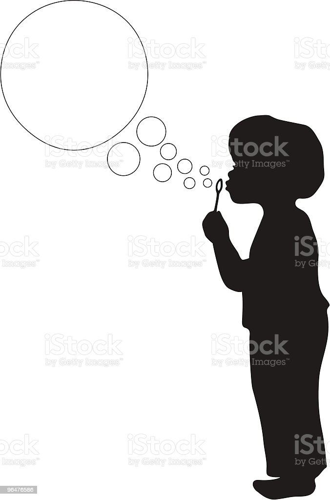Boy Blowing Bubbles in silhouette vector art illustration