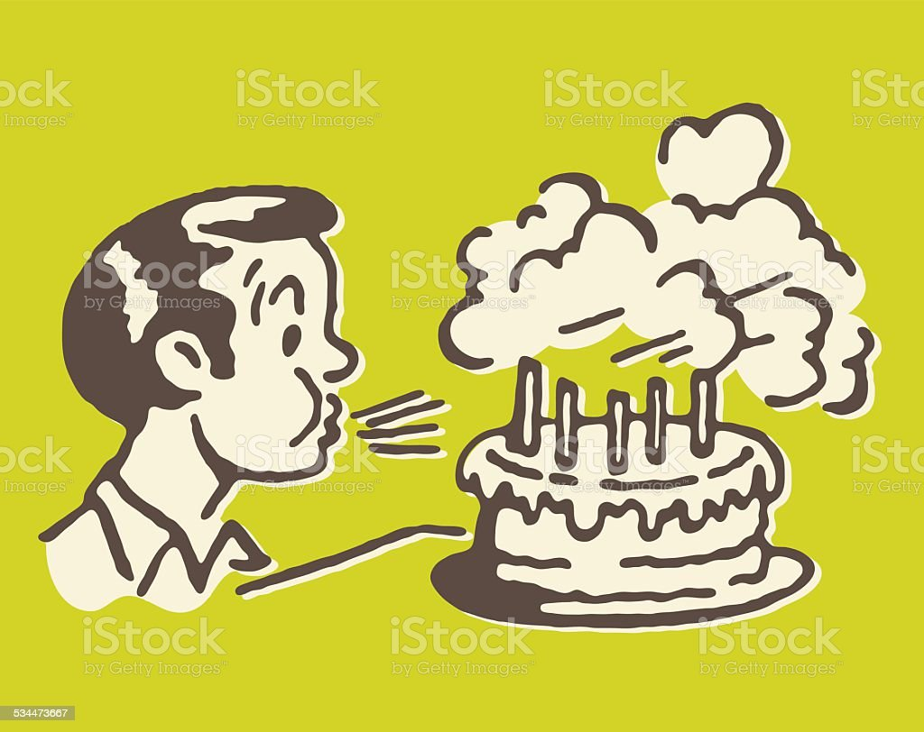 Boy Blowing out Birthday Cake Candles vector art illustration