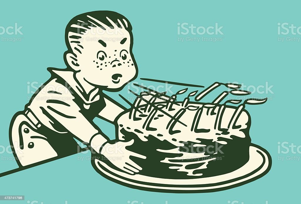 Boy Blowing Out Birthday Candles vector art illustration