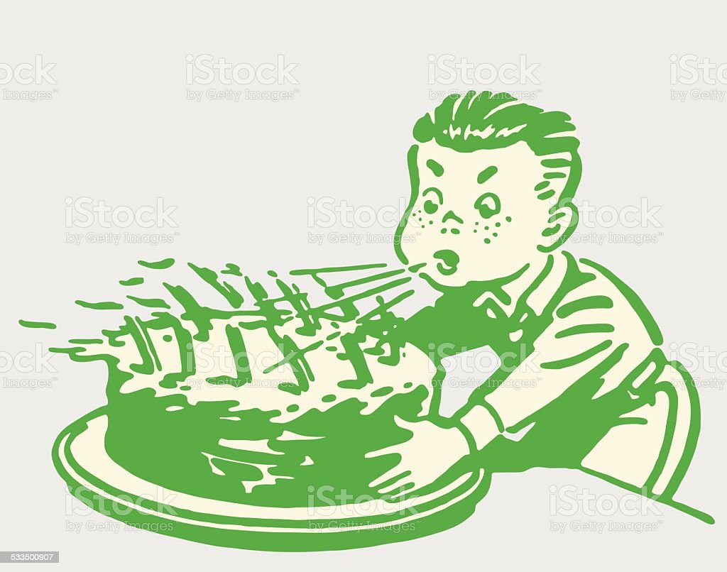 Boy Blowing out Candles on Birthday Cake vector art illustration