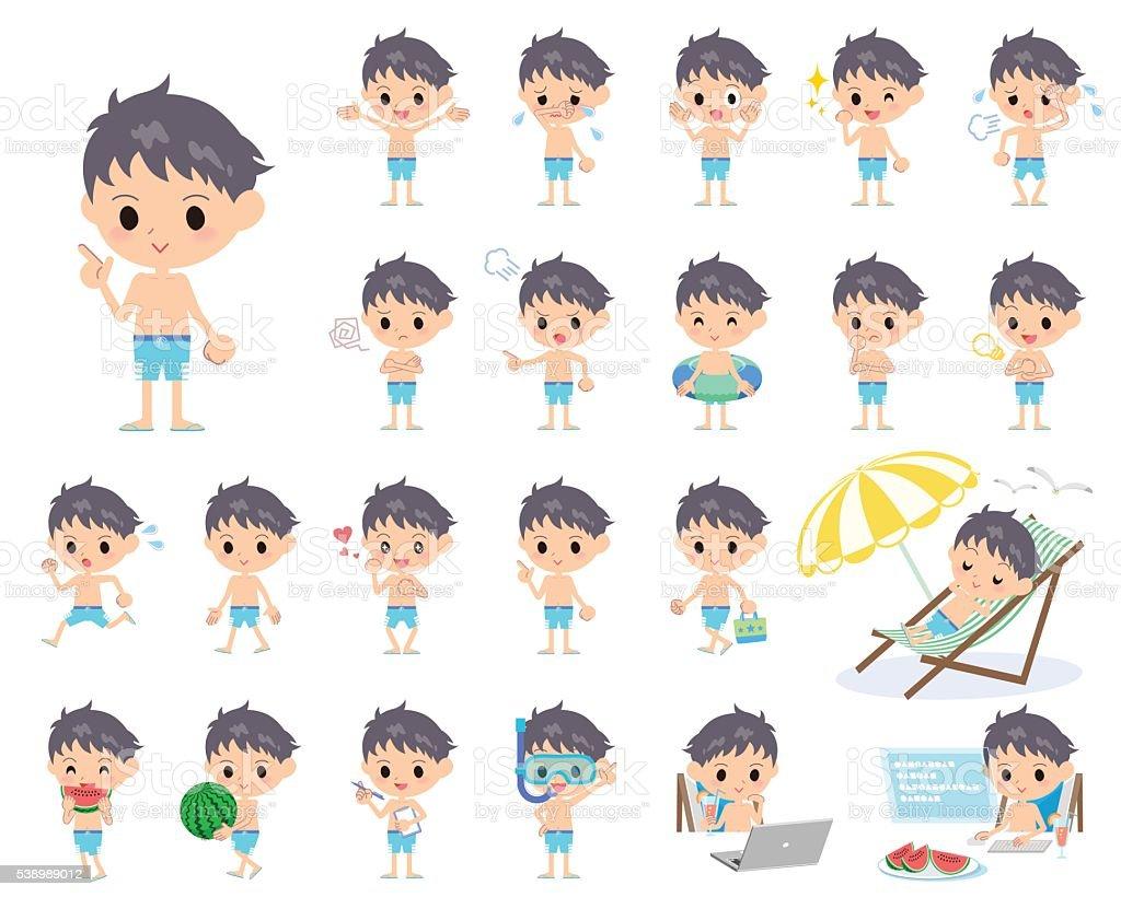 boy blue Swimwear style vector art illustration