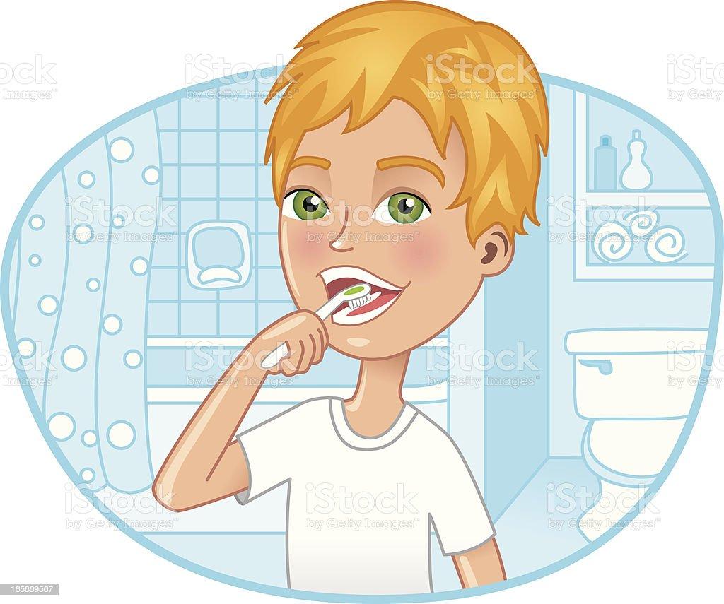 Boy brushing his teeth in the bathroom royalty-free stock vector art