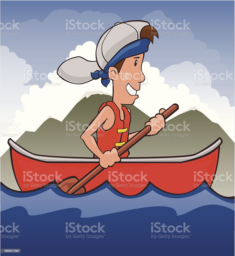 Boy Canoeing on a lake royalty-free stock vector art