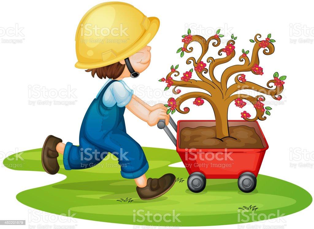 boy carrying tree royalty-free stock vector art