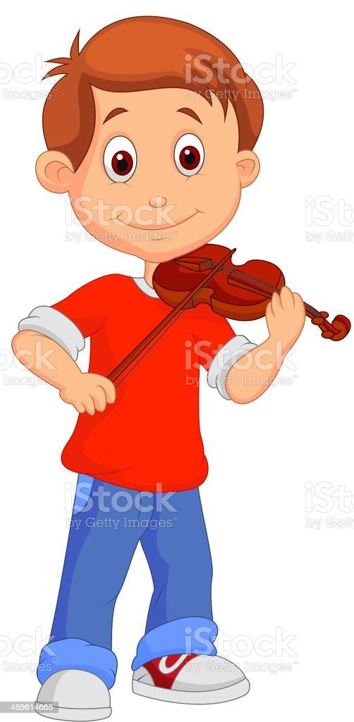 Boy cartoon playing his violin royalty-free stock vector art