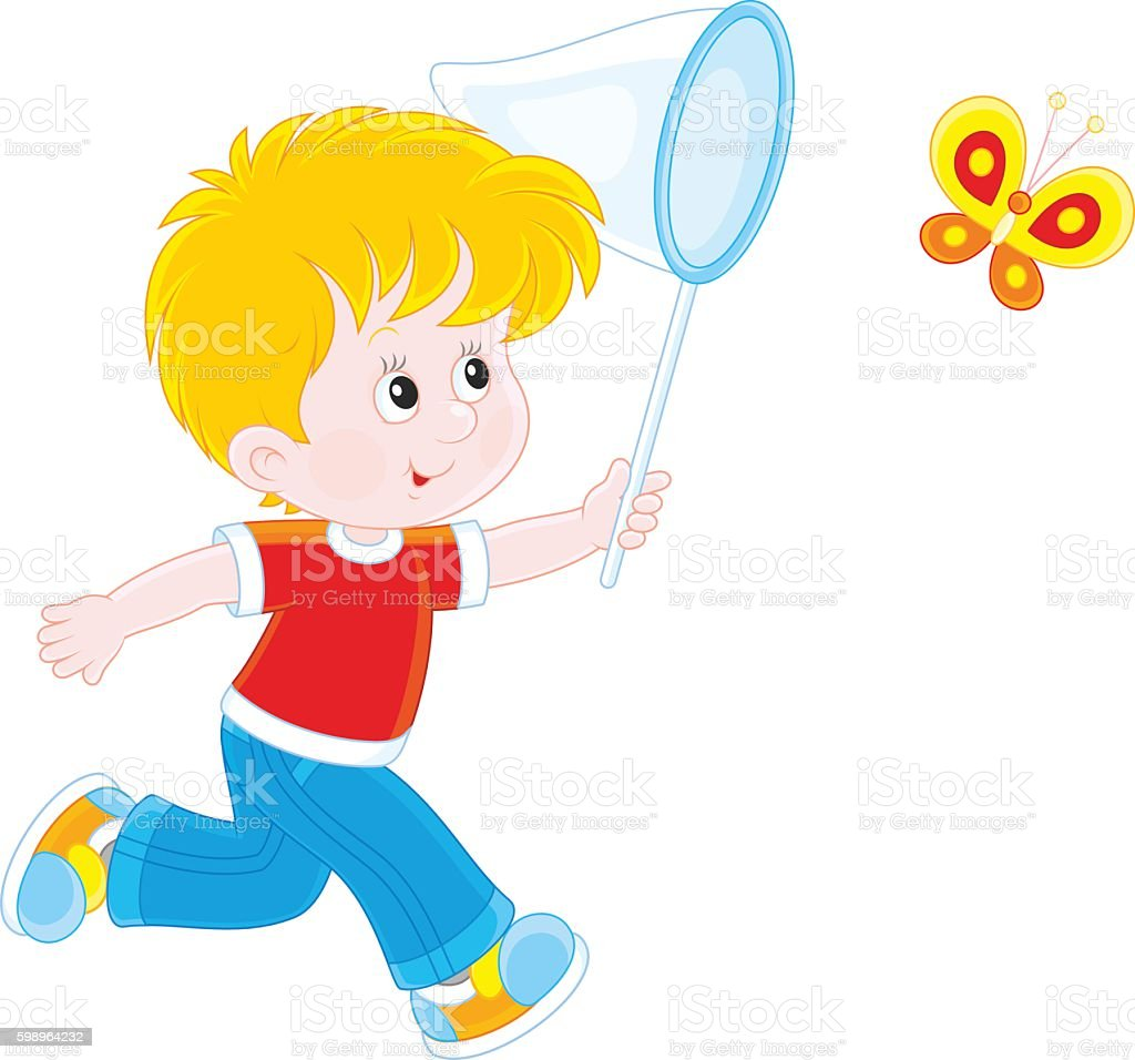 Boy catching a butterfly vector art illustration