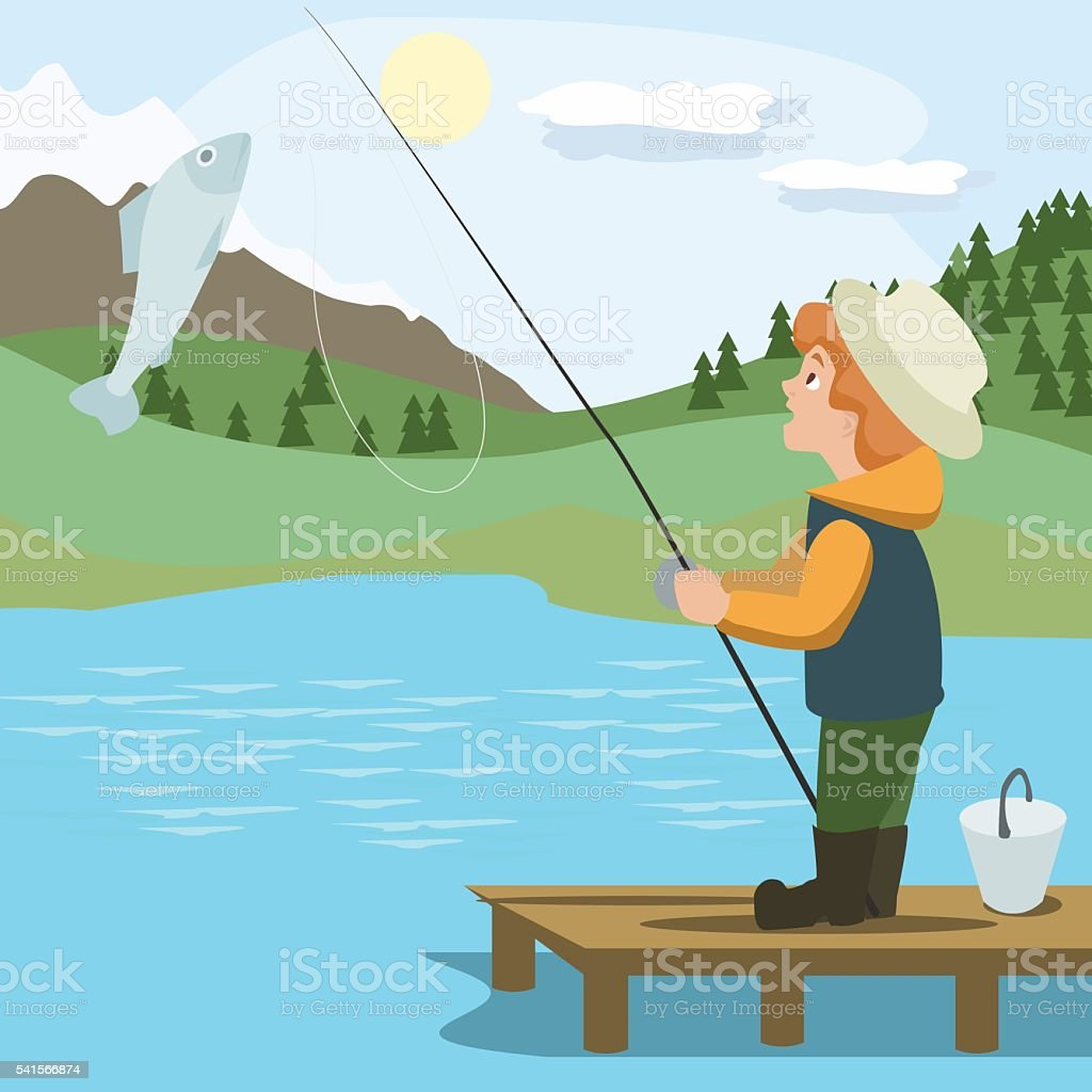 boy catching fish with rod vector art illustration