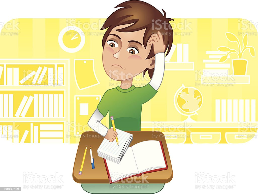 Boy confused in school royalty-free stock vector art