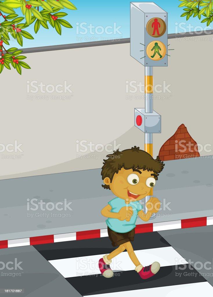 Boy crossing road royalty-free stock vector art