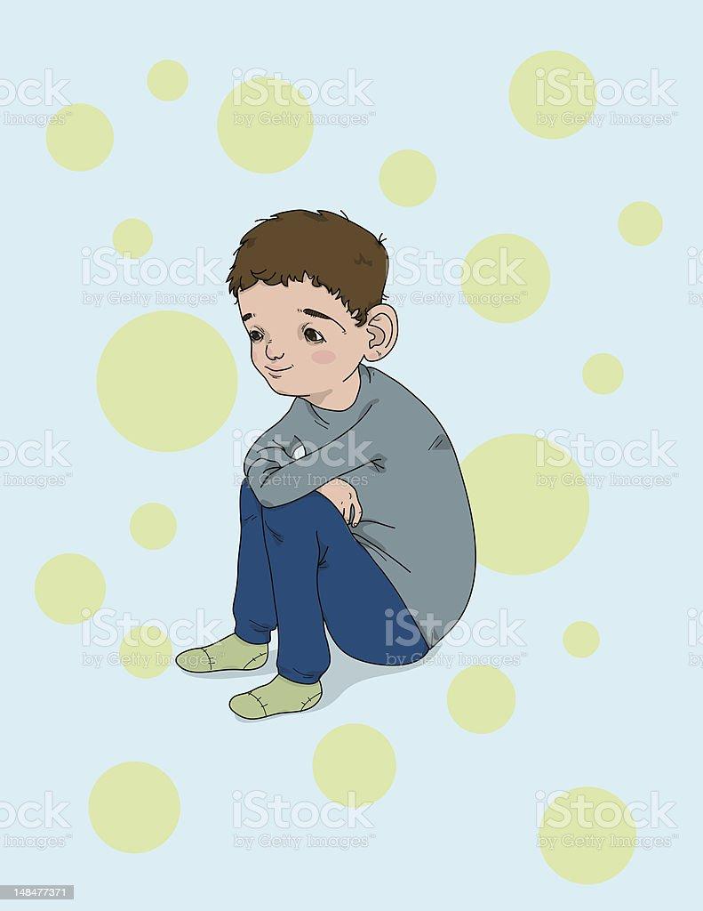 Boy Crouching royalty-free stock vector art