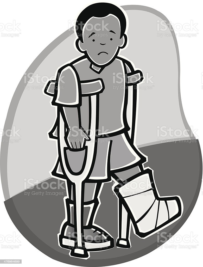 Boy Crutches royalty-free stock vector art
