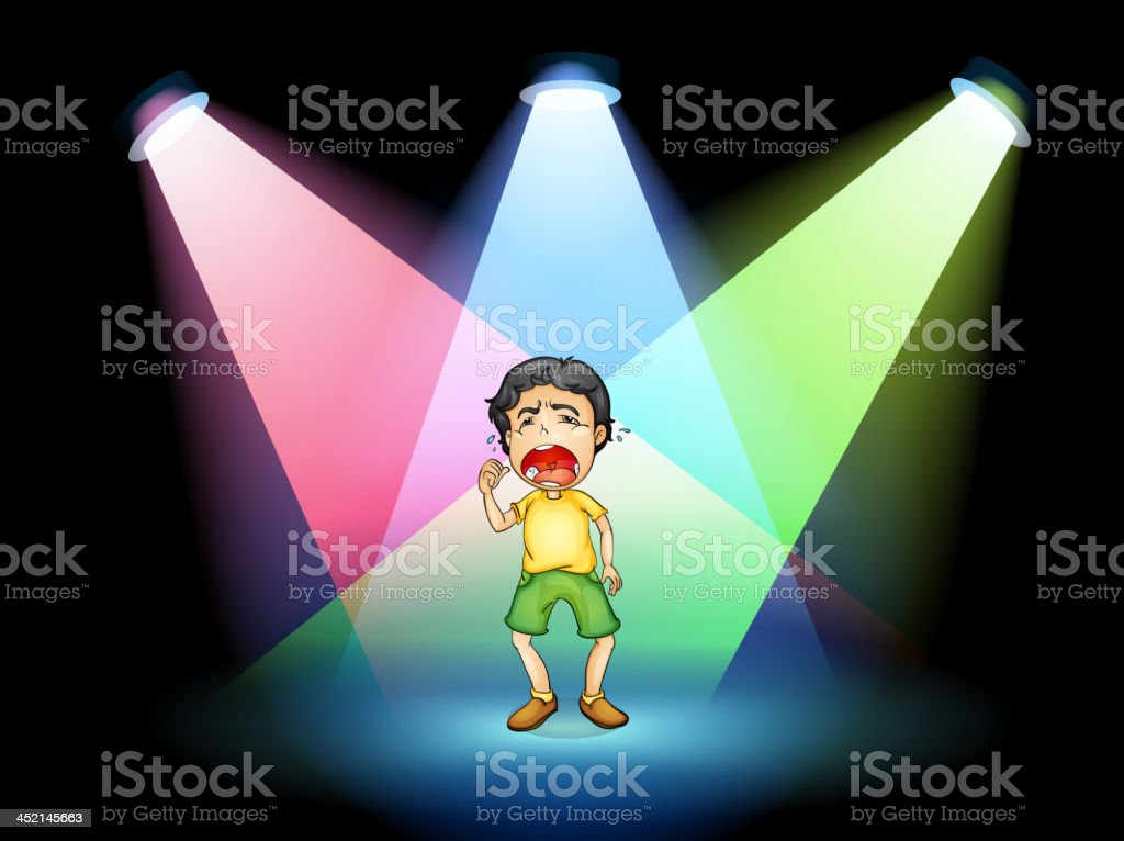 Boy crying at the stage royalty-free stock vector art