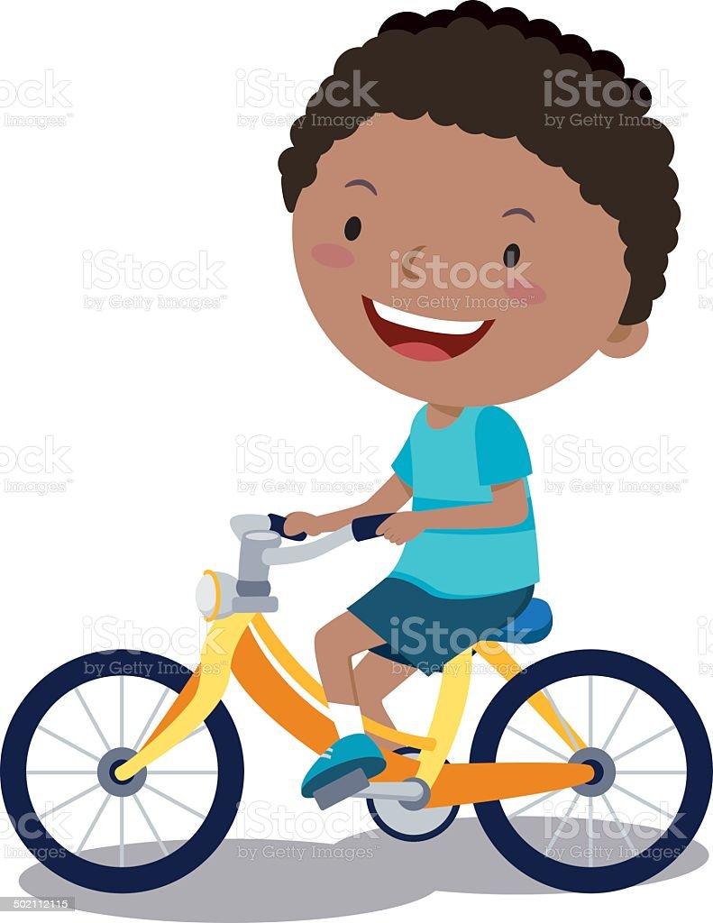 Boy cycling vector art illustration