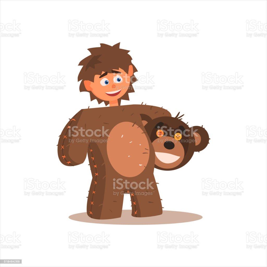 Boy Desguised As Bear vector art illustration
