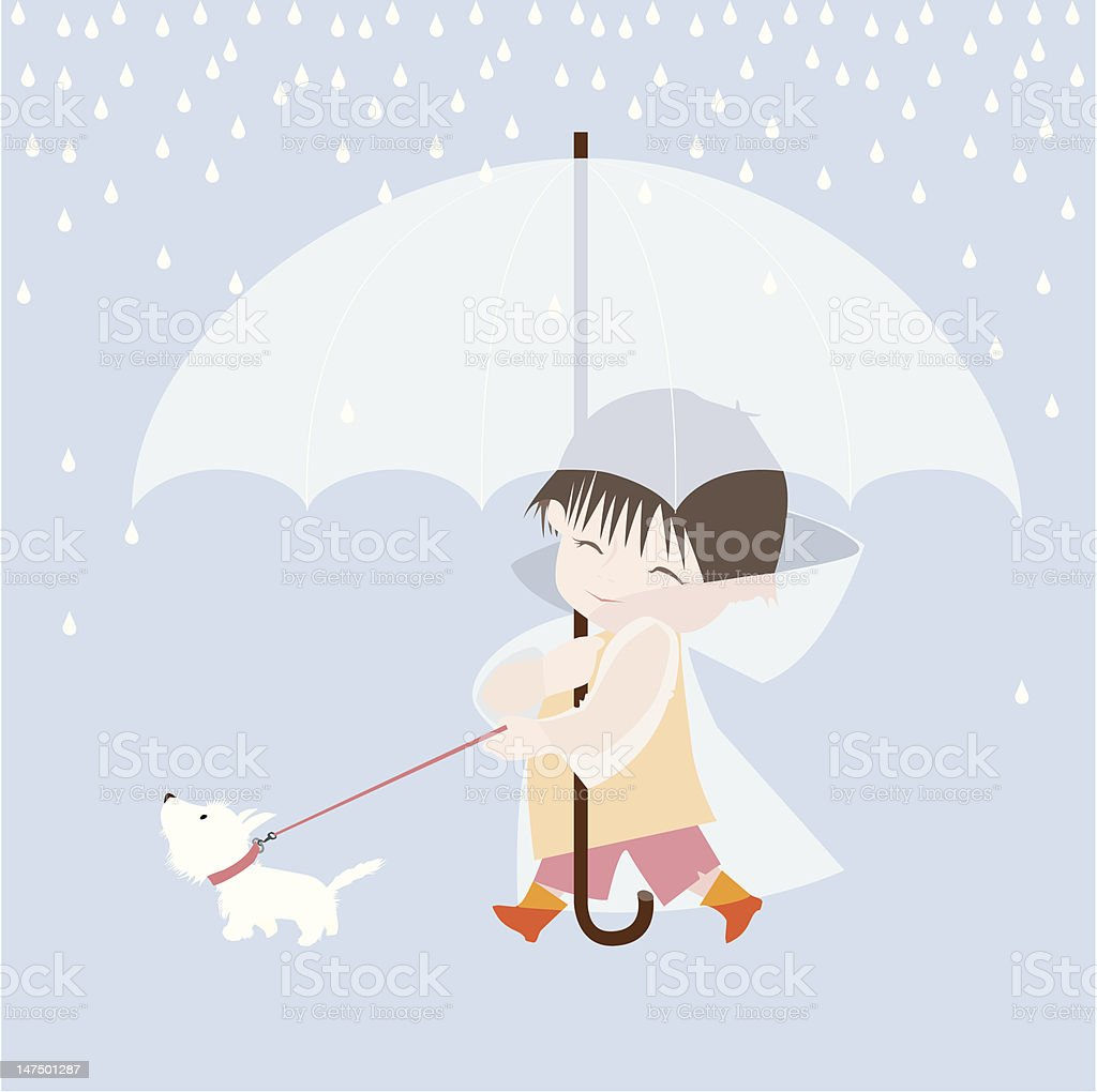 Boy, Dog and Rain royalty-free stock vector art