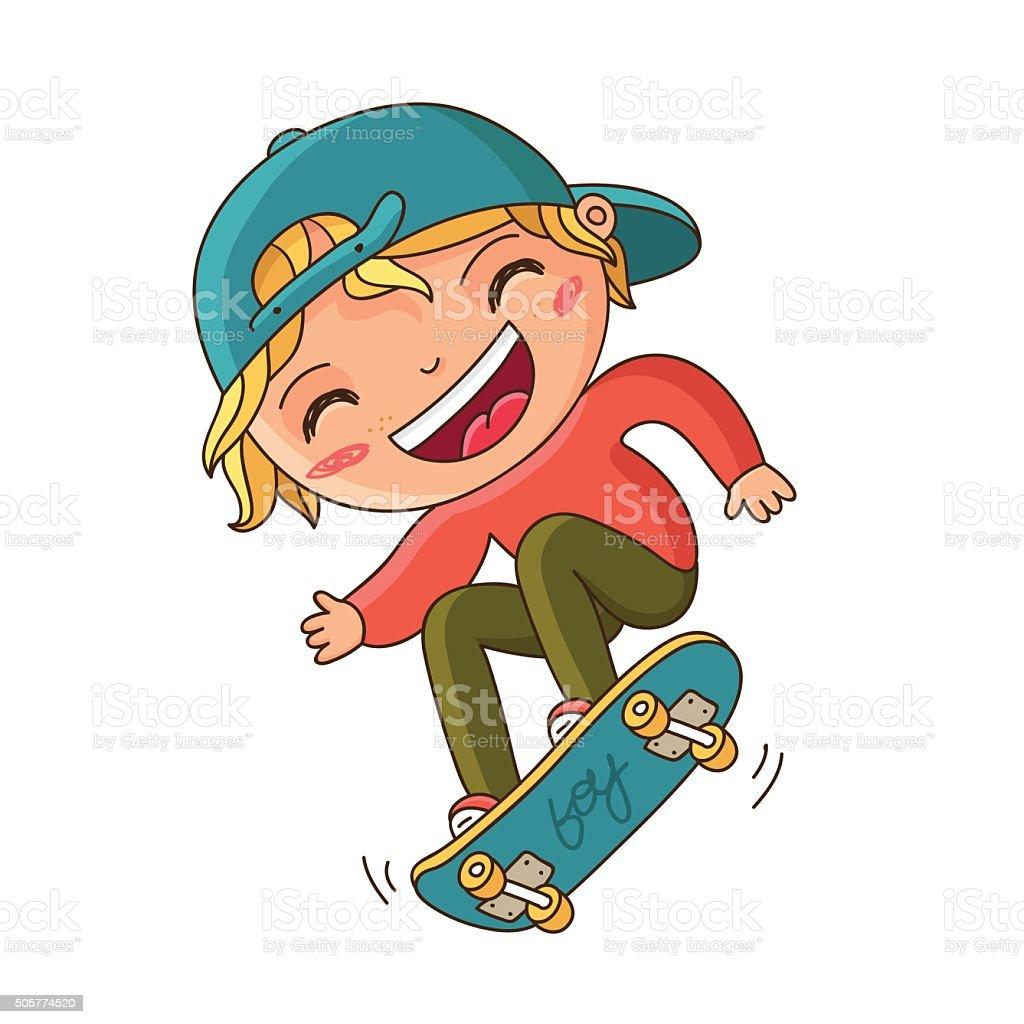 Boy doing a trick on a skateboard vector art illustration
