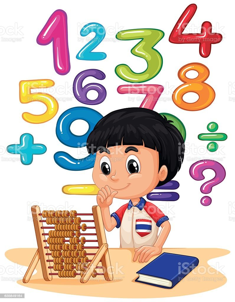 Boy doing math with abacus vector art illustration