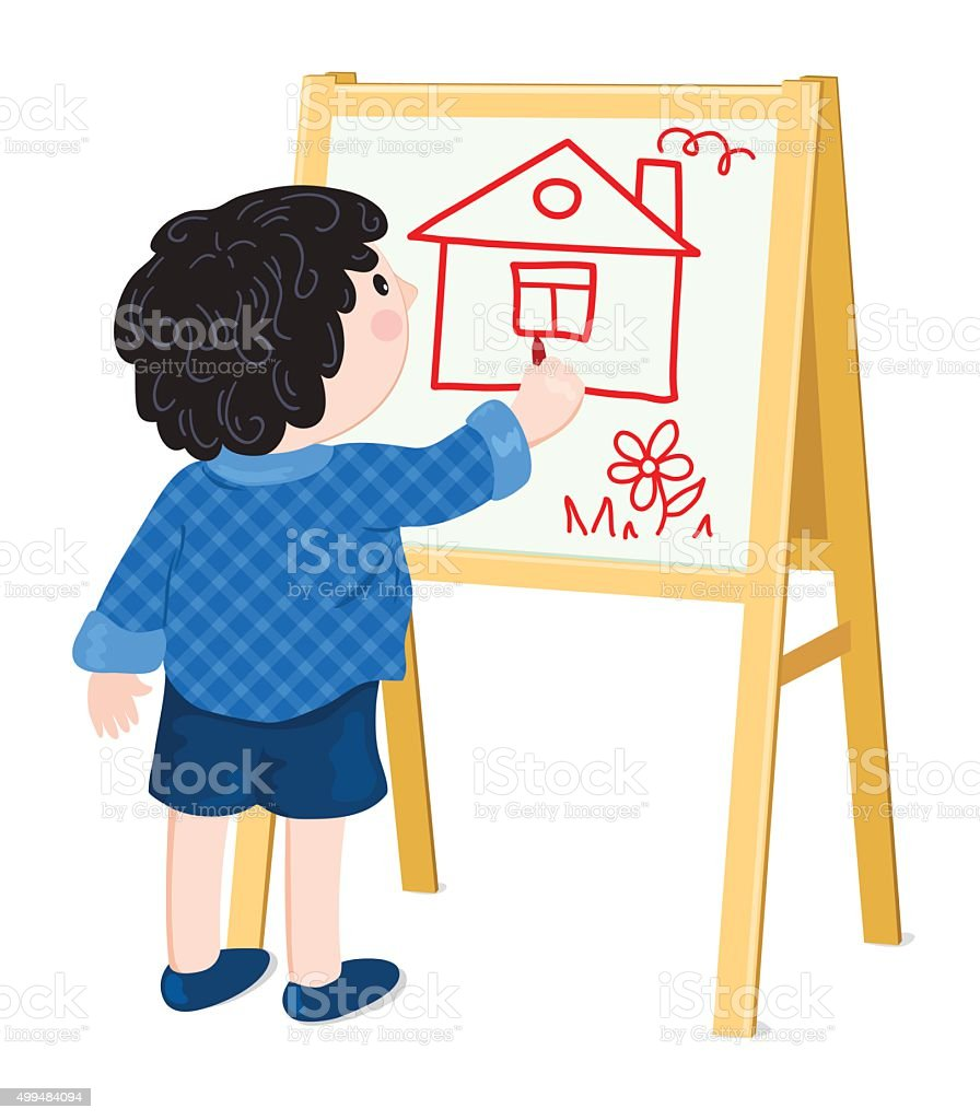 Boy drawing house vector art illustration