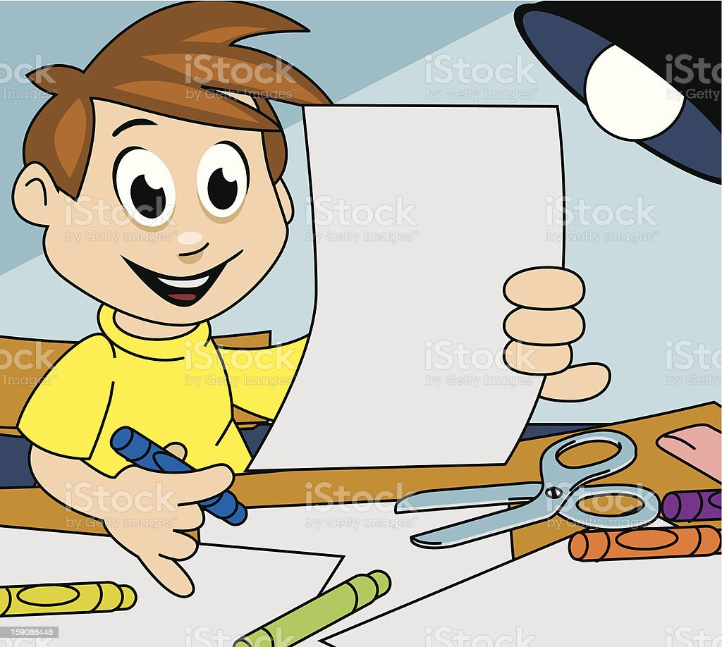 Boy drawing with crayons royalty-free stock vector art
