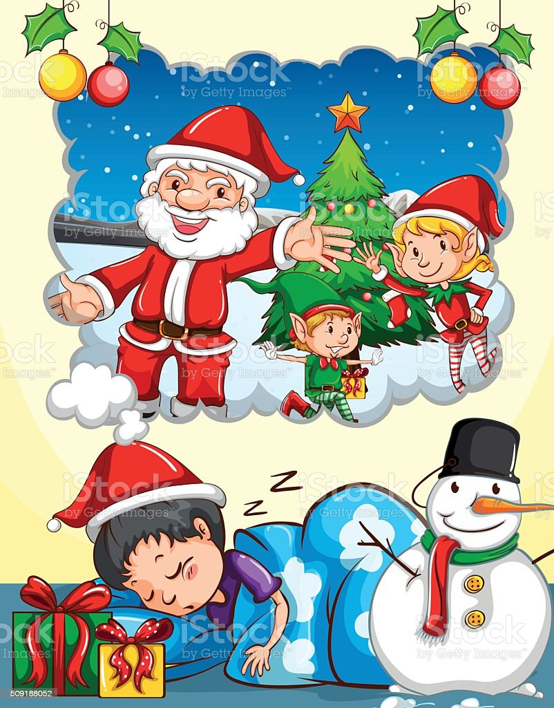 Boy dreaming about Christmas festival vector art illustration