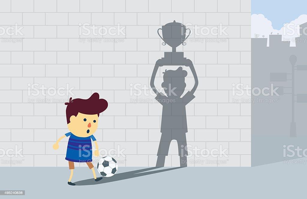 Boy dreaming to champion vector art illustration