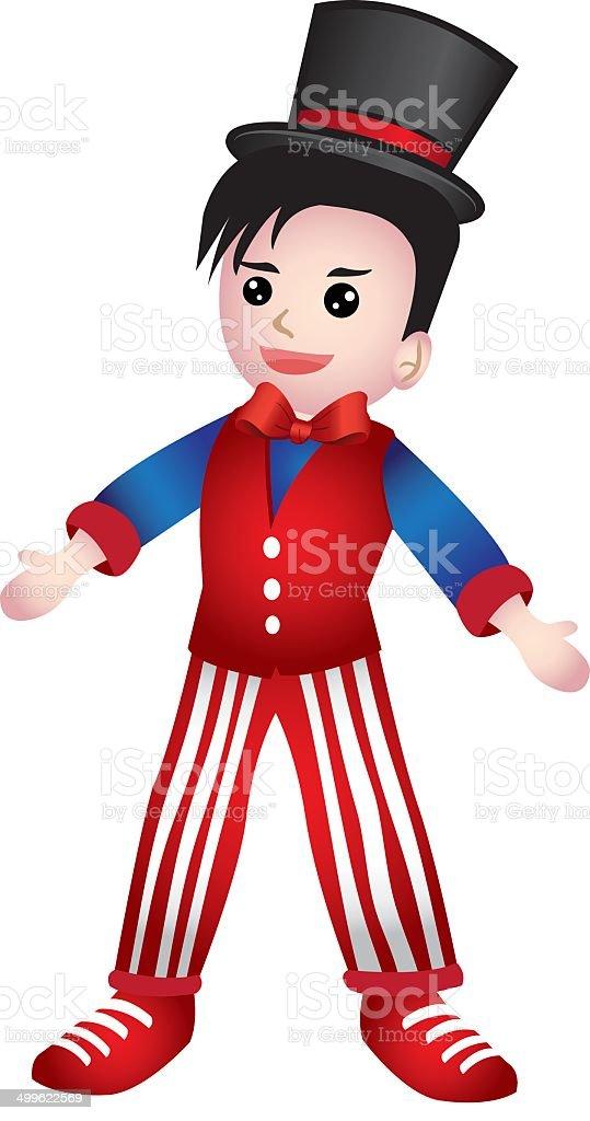 Boy Dressed as Magician Vector Cartoon royalty-free stock vector art