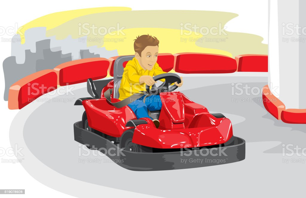 Boy driving go kart vector art illustration
