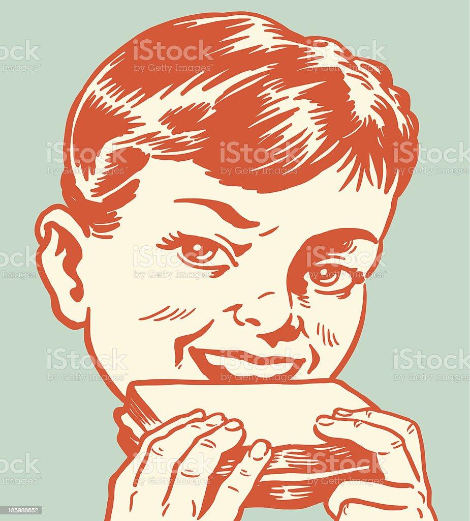 Boy Eating a Sandwich vector art illustration