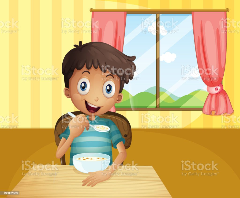 boy eating cereals inside the house royalty-free stock vector art