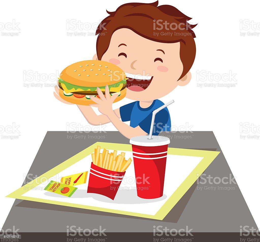 Boy eating fast food vector art illustration