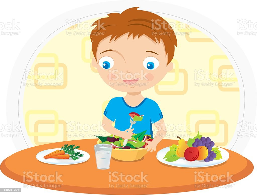 boy eating food at the table vector illustration vector art illustration