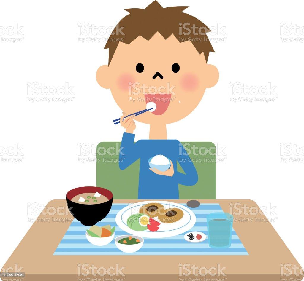 Boy  eating  meal vector art illustration