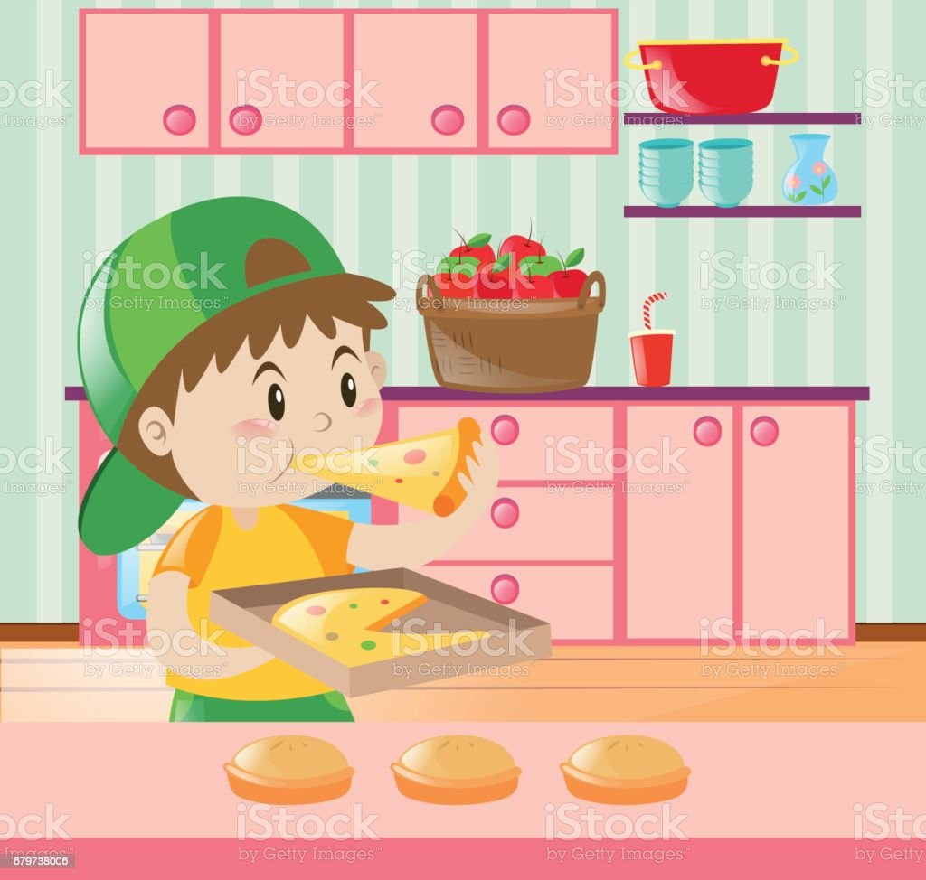 Selection of cartoons on cooking kitchens food and eating - Boy Eating Pizza In Kitchen Royalty Free Stock Vector Art
