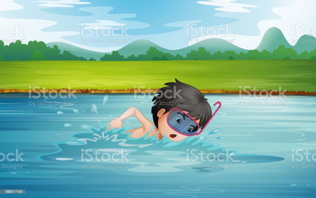 boy enjoying cold water of the river royalty-free stock vector art