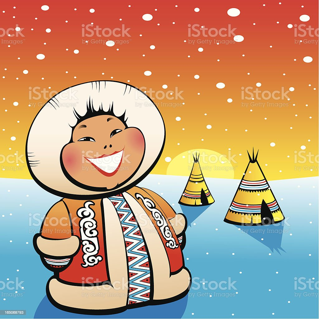Boy Eskimo Merry royalty-free stock vector art
