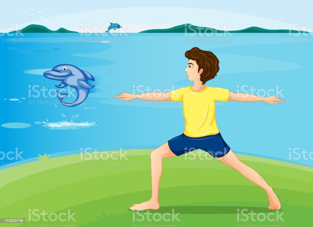 Boy exercising at the riverbank royalty-free stock vector art