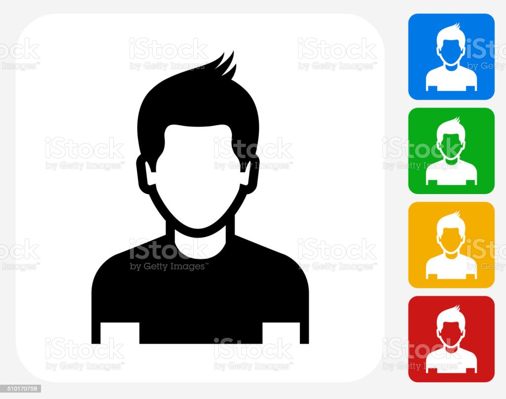 Boy Face Icon Flat Graphic Design vector art illustration