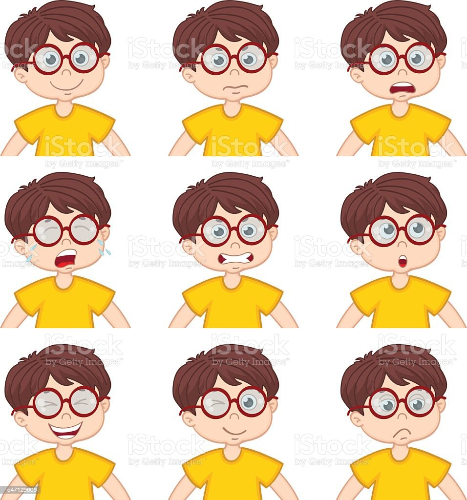 boy faces showing different emotions vector art illustration