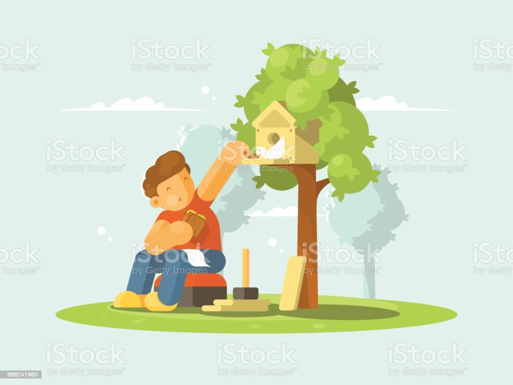 Boy feeding bird in birdhouse vector art illustration