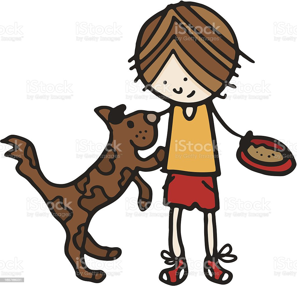 Boy feeding his dog holding a bowl of pet food vector art illustration