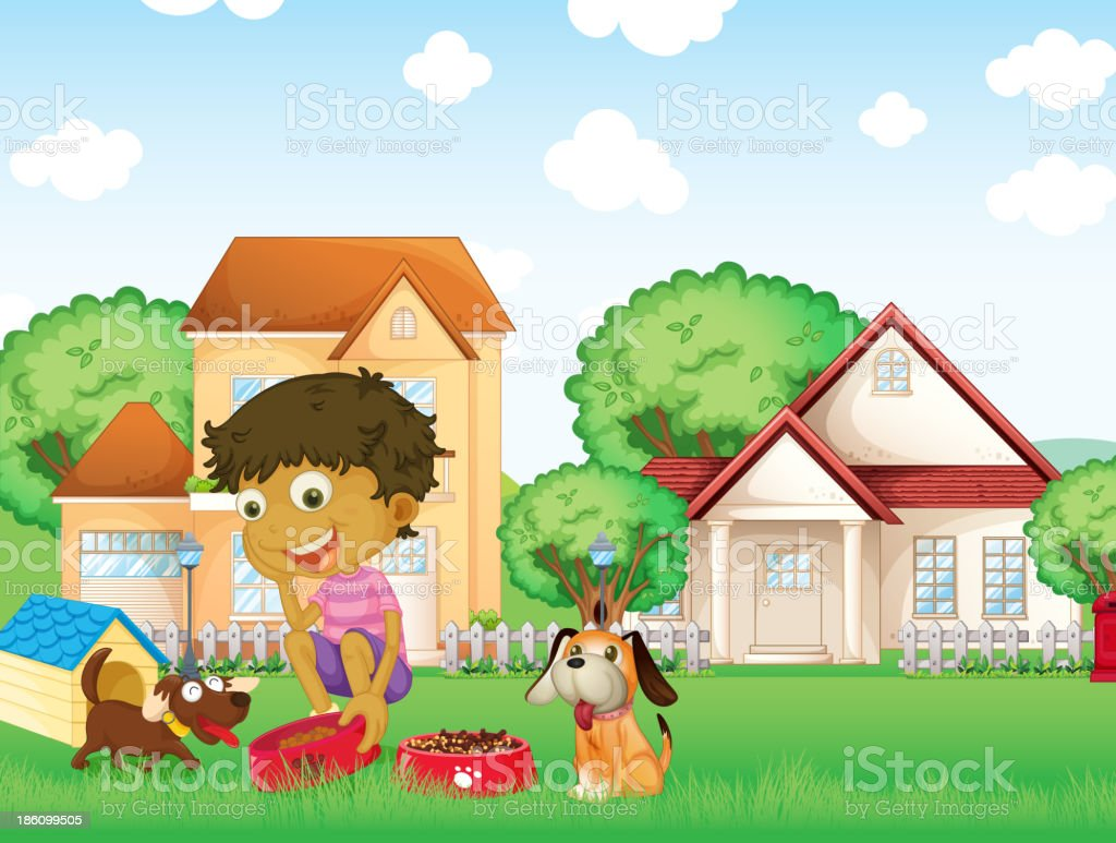 boy feeding his puppies royalty-free stock vector art