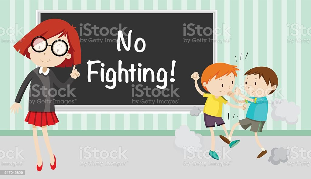 Boy fighting in front of no fighting sign vector art illustration