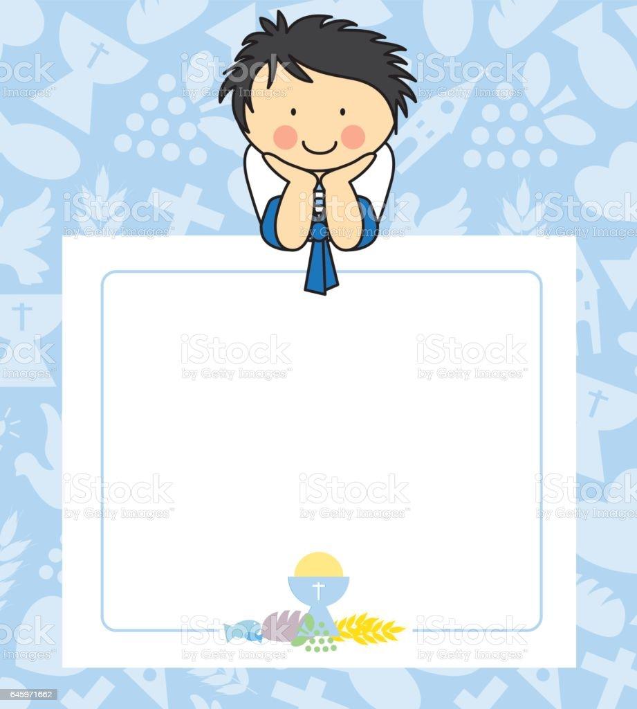 Boy first Communion card vector art illustration