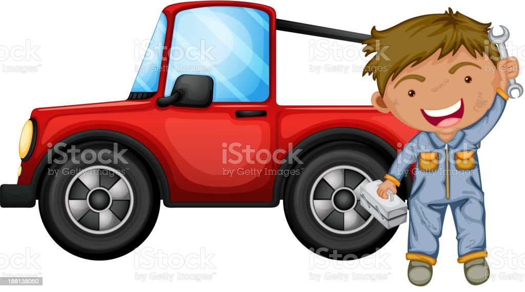 boy fixing the red jeep vector art illustration