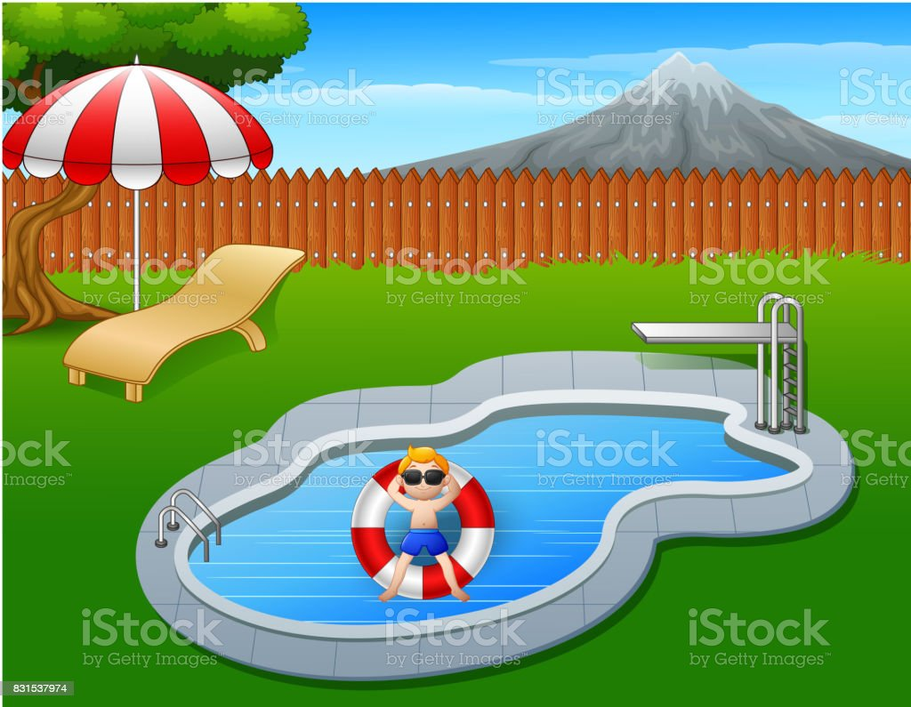Boy floating on inflatable ring in the pool vector art illustration