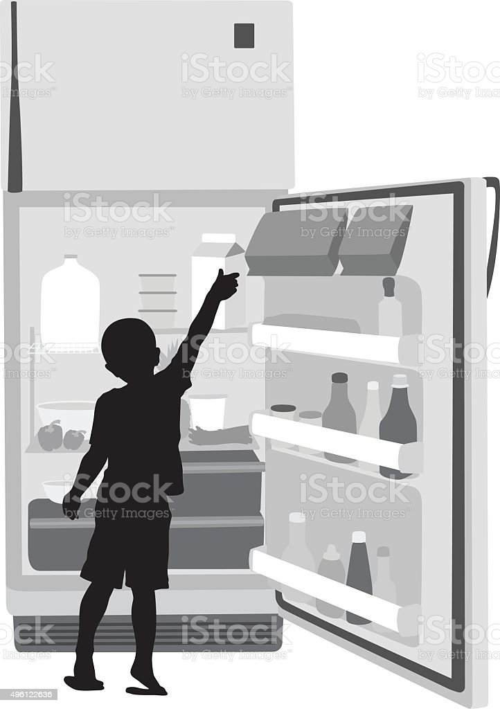 Boy Getting Milk vector art illustration