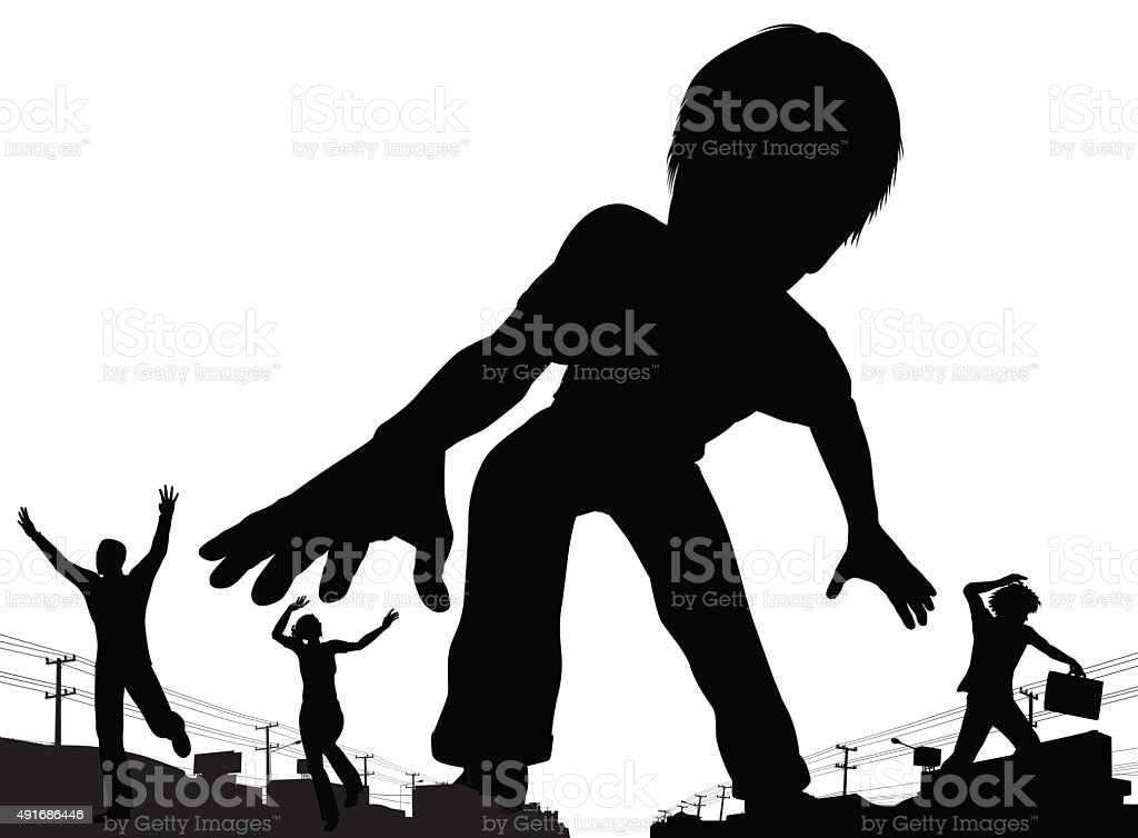 Boy giant vector art illustration