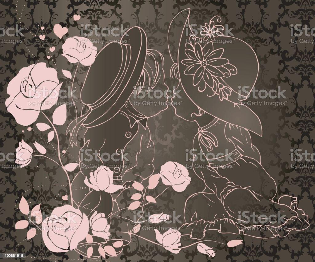 Boy & girl on pattern background royalty-free stock vector art