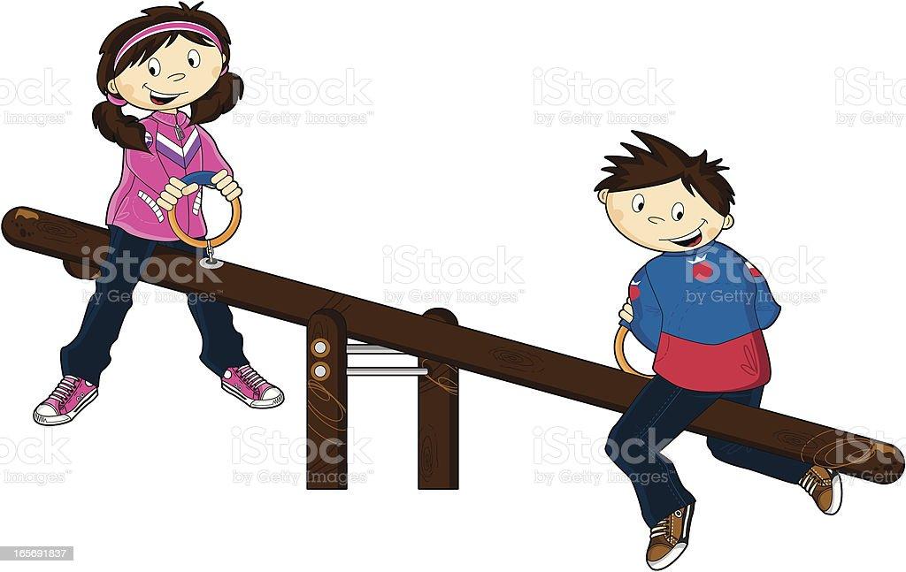 Boy & Girl on Seesaw royalty-free stock vector art