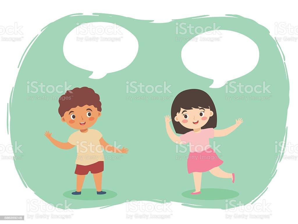 Boy Girl Talking Vector vector art illustration